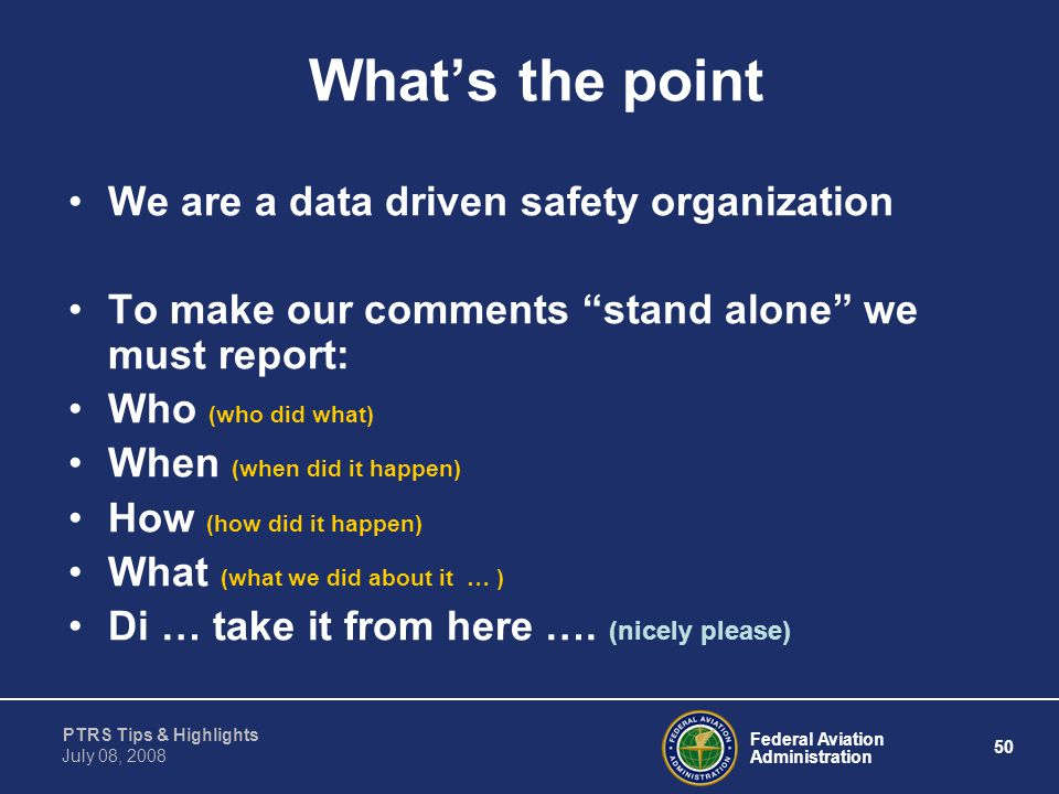 What's the point We are a data driven safety organization