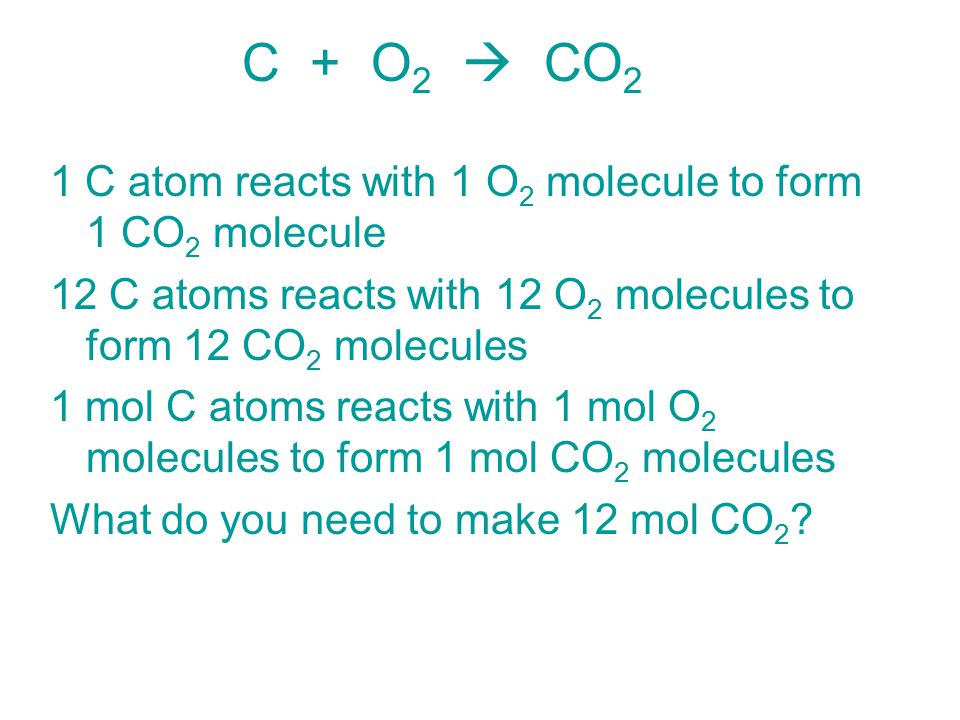 C + O2  CO2 1 C atom reacts with 1 O2 molecule to form 1 CO2 molecule