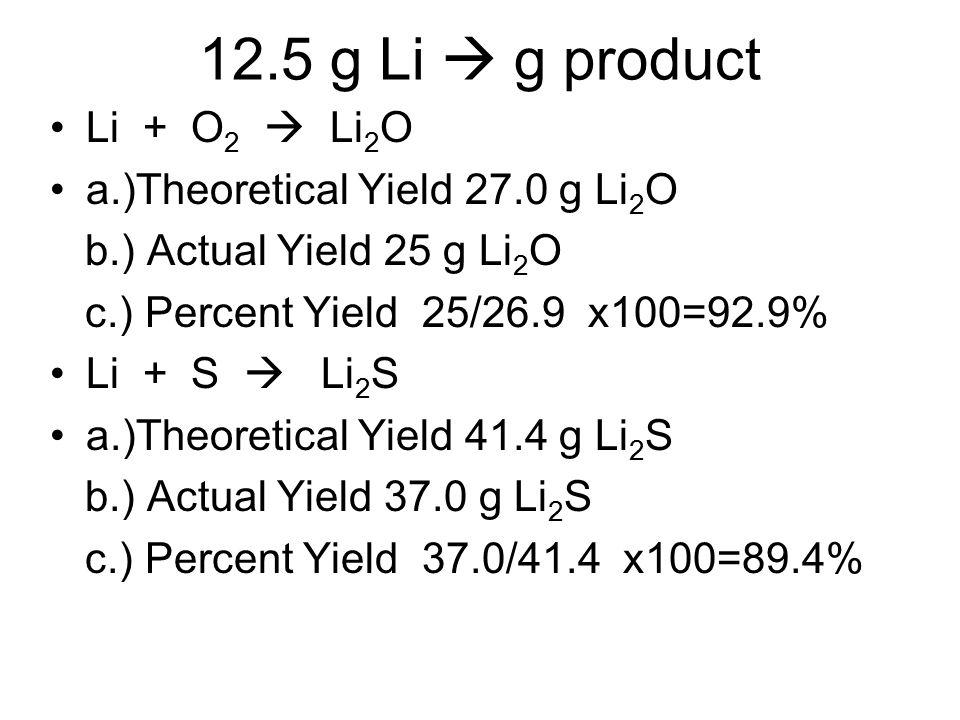 12.5 g Li  g product Li + O2  Li2O a.)Theoretical Yield 27.0 g Li2O