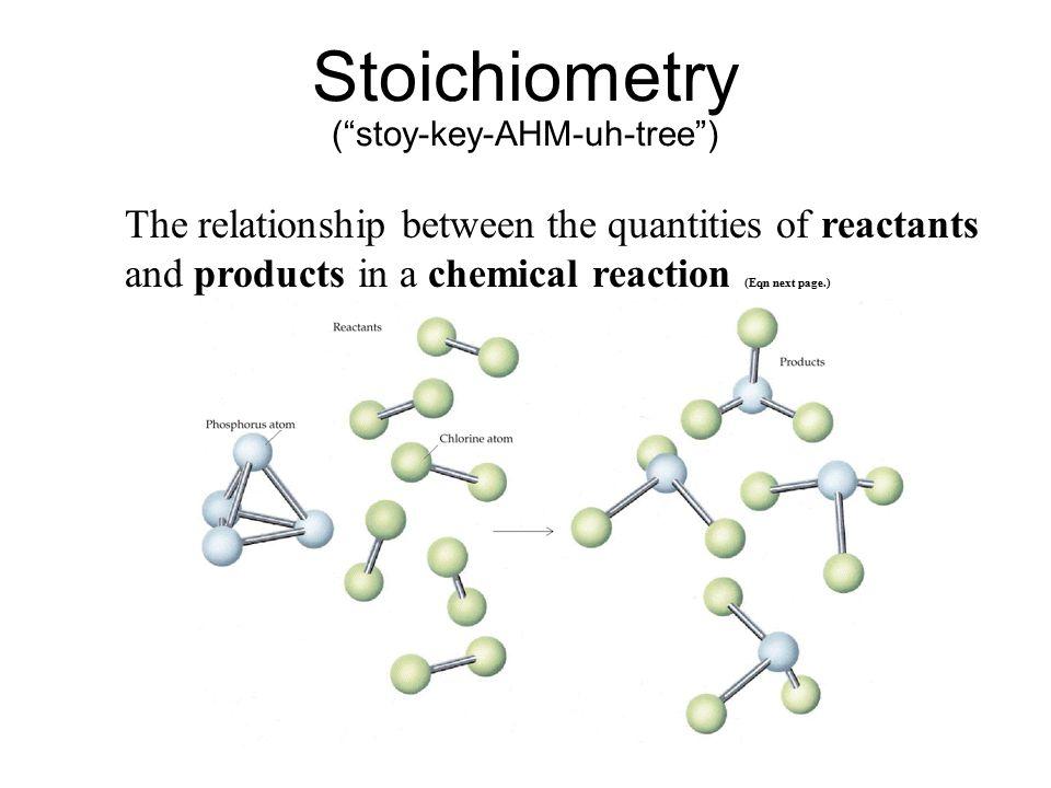 Stoichiometry ( stoy-key-AHM-uh-tree )