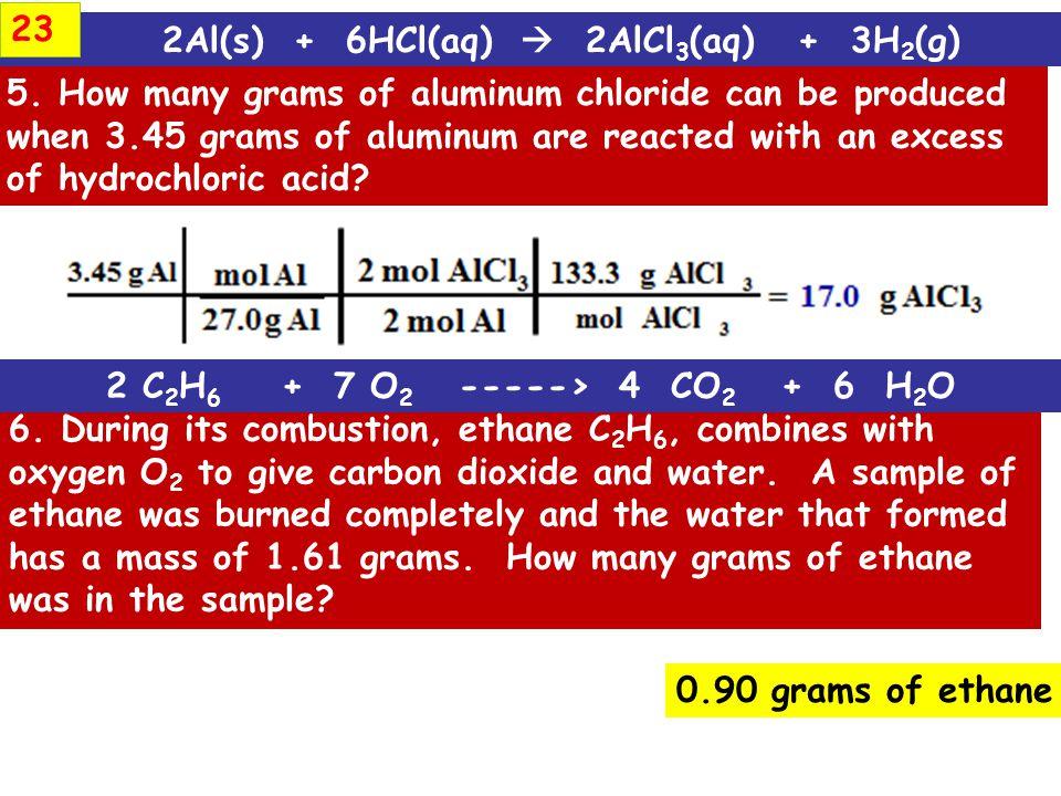 2Al(s) + 6HCl(aq)  2AlCl3(aq) + 3H2(g)
