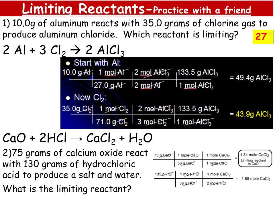Limiting Reactants-Practice with a friend