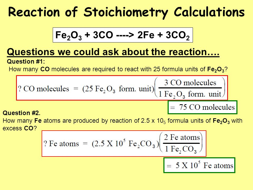 Reaction of Stoichiometry Calculations