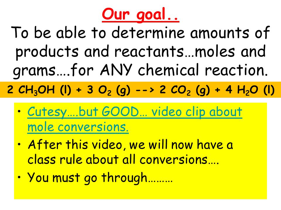 2 CH3OH (l) + 3 O2 (g) --> 2 CO2 (g) + 4 H2O (l)