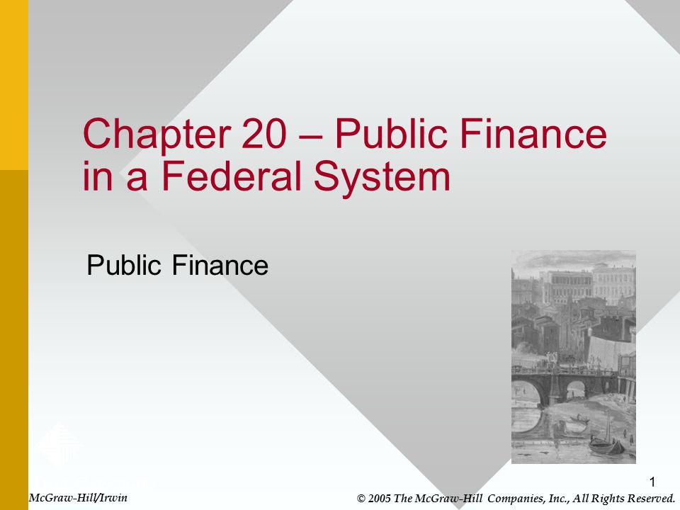 Chapter 20 – Public Finance in a Federal System