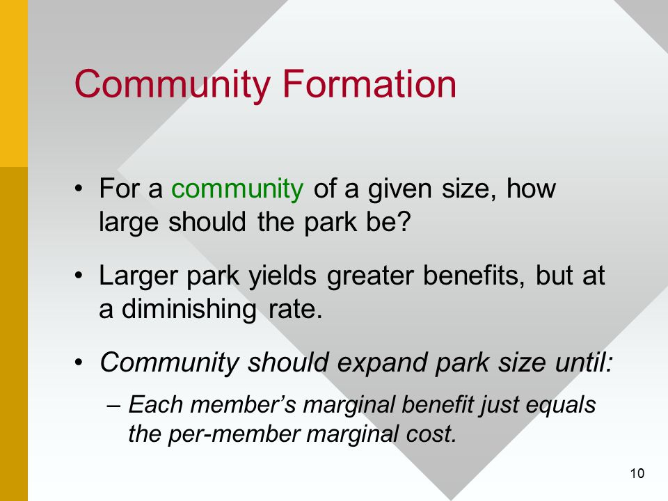 Community Formation For a community of a given size, how large should the park be Larger park yields greater benefits, but at a diminishing rate.