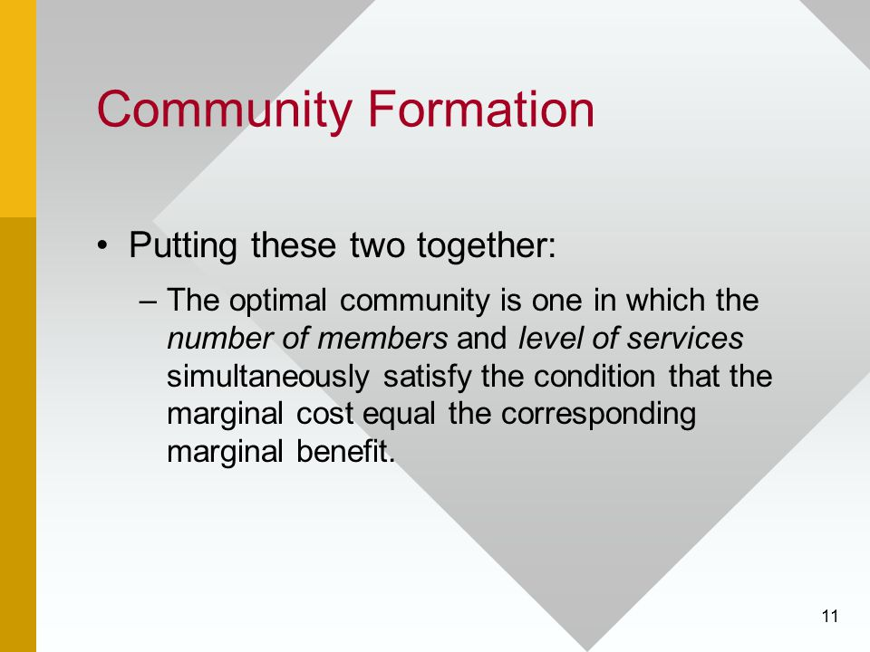 Community Formation Putting these two together: