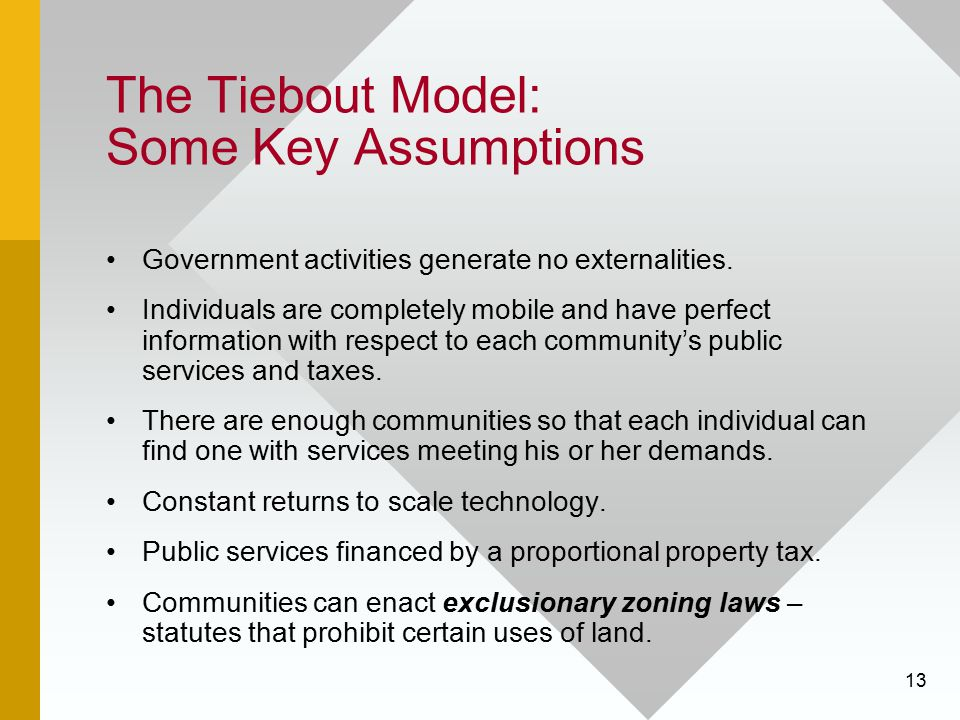 The Tiebout Model: Some Key Assumptions
