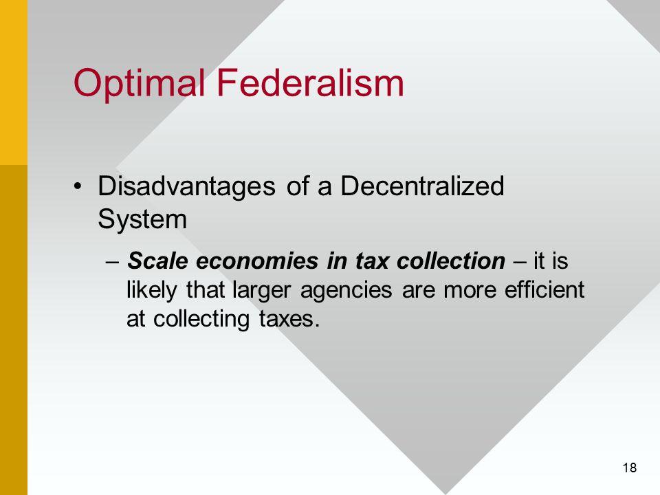 Optimal Federalism Disadvantages of a Decentralized System