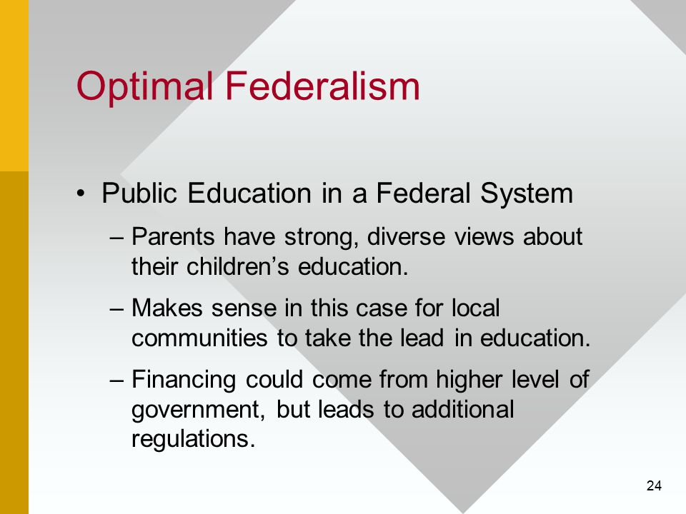 Optimal Federalism Public Education in a Federal System