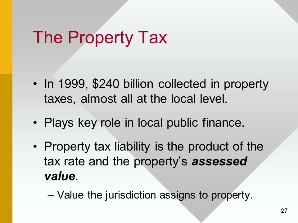 The Property Tax In 1999, $240 billion collected in property taxes, almost all at the local level.