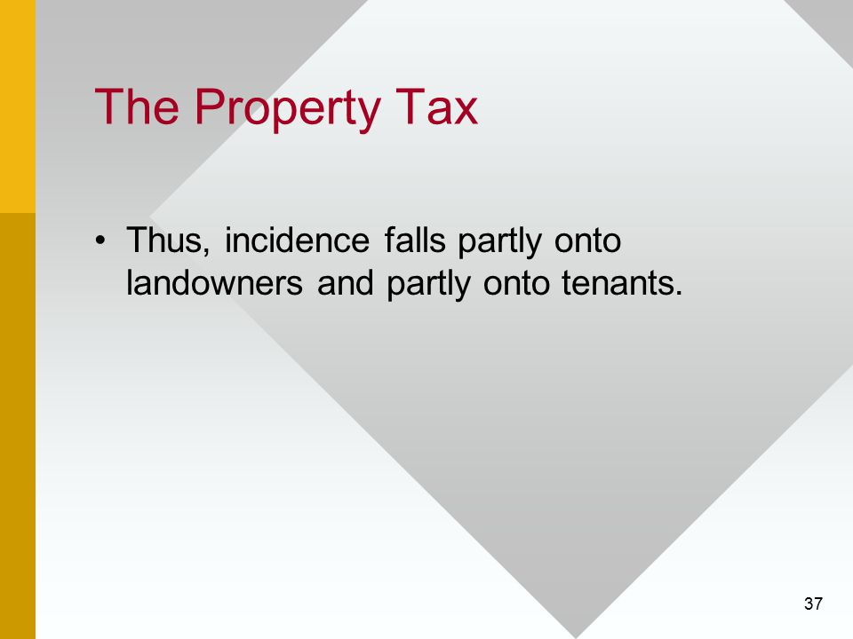 The Property Tax Thus, incidence falls partly onto landowners and partly onto tenants.