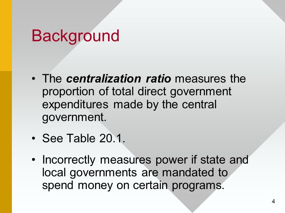 Background The centralization ratio measures the proportion of total direct government expenditures made by the central government.