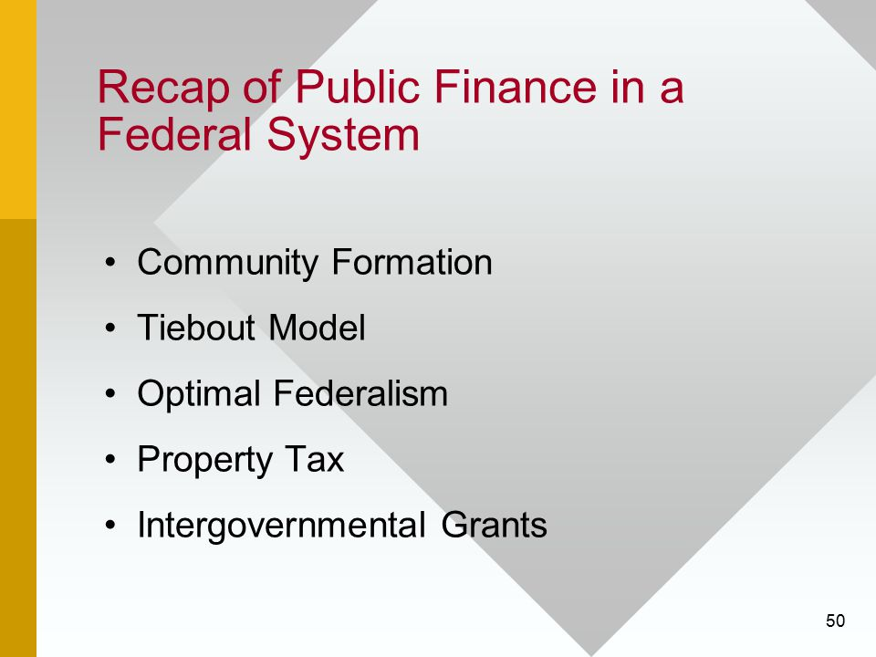 Recap of Public Finance in a Federal System