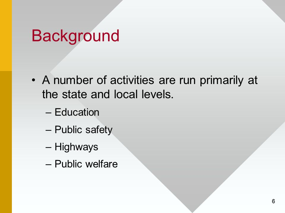 Background A number of activities are run primarily at the state and local levels. Education. Public safety.