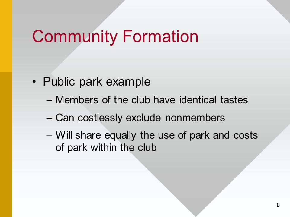 Community Formation Public park example