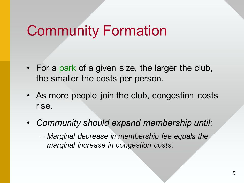 Community Formation For a park of a given size, the larger the club, the smaller the costs per person.