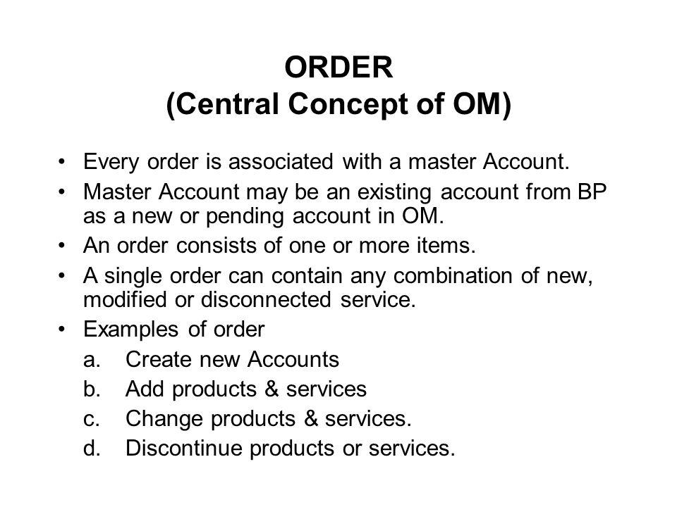 ORDER (Central Concept of OM)