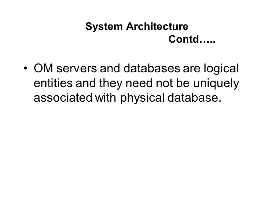 System Architecture Contd…..