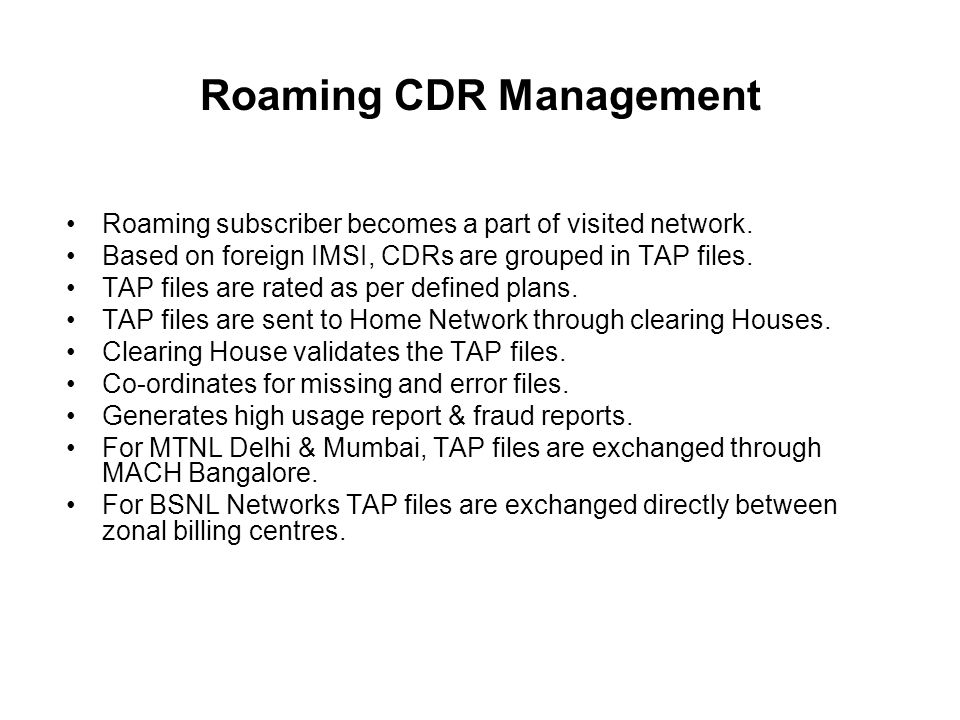Roaming CDR Management