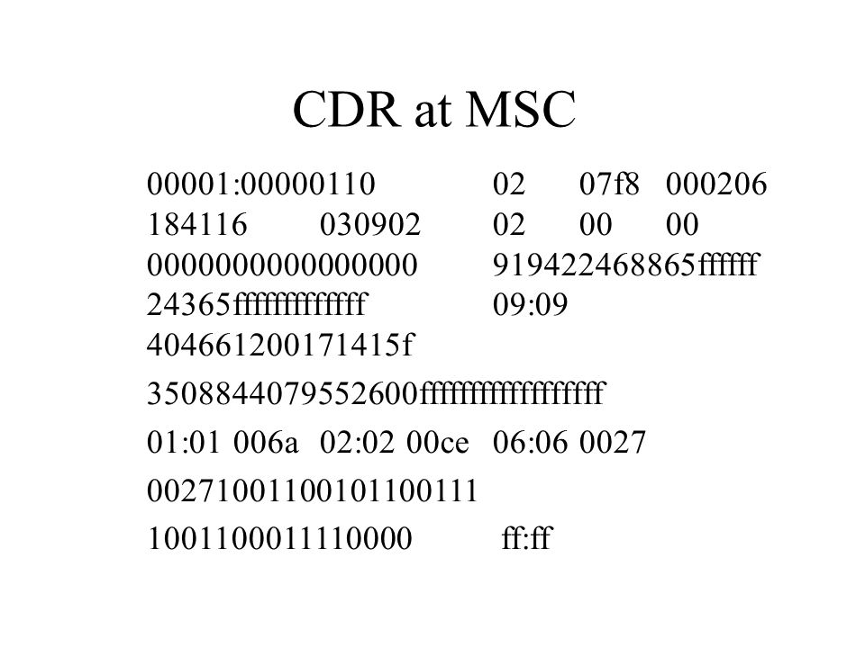 CDR at MSC 00001:00000110 02 07f8 000206 184116 030902 02 00 00 0000000000000000 919422468865ffffff 24365fffffffffffff 09:09 404661200171415f.
