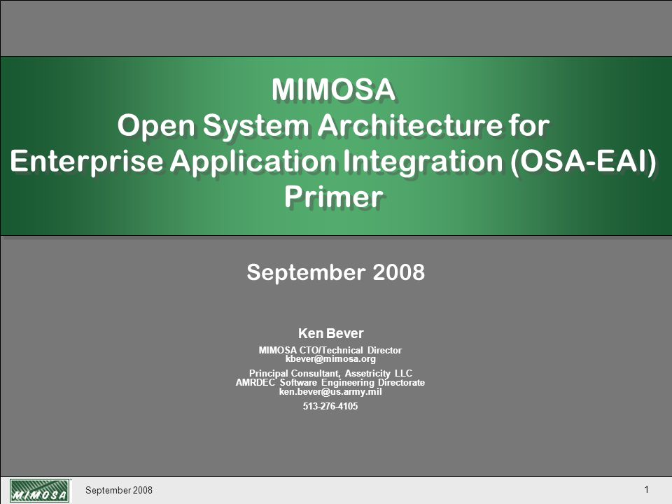 MIMOSA CTO/Technical Director kbever@mimosa.org