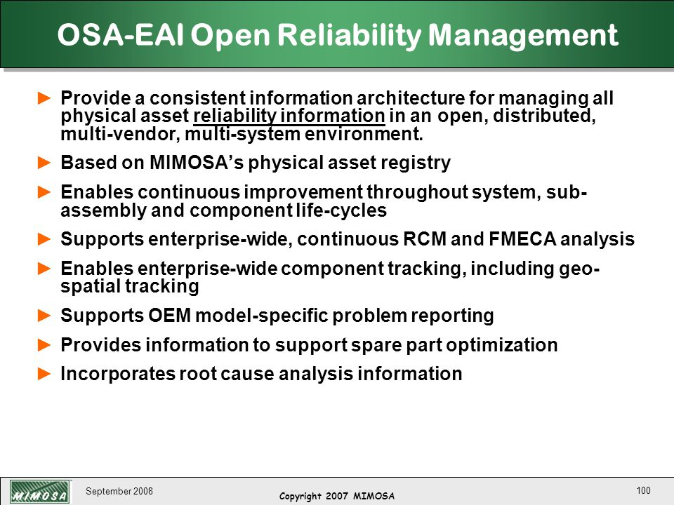 OSA-EAI Open Reliability Management