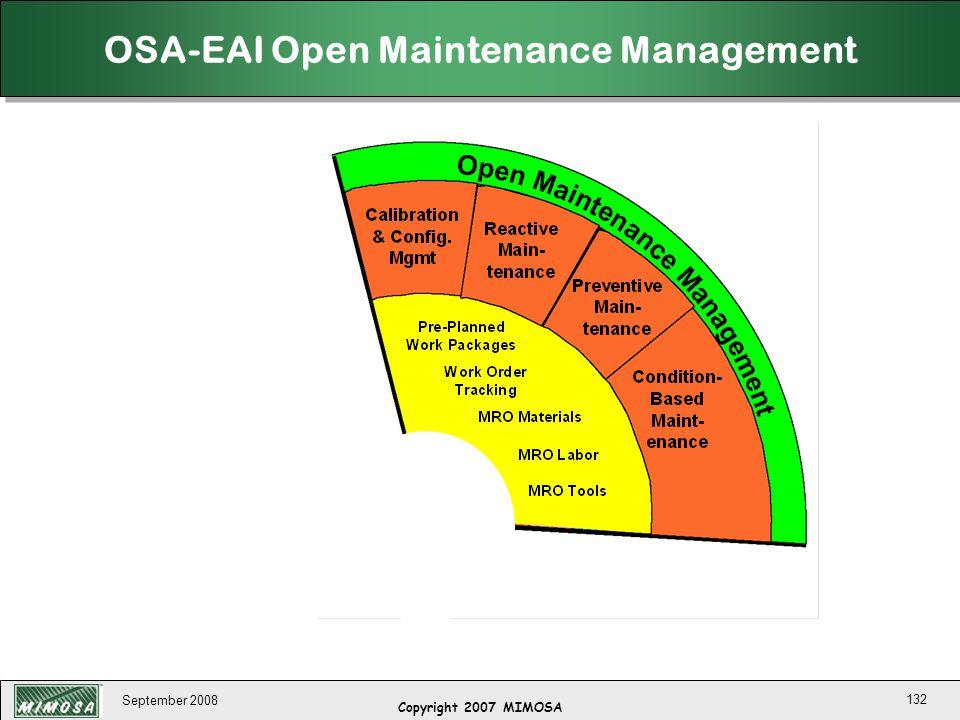 OSA-EAI Open Maintenance Management