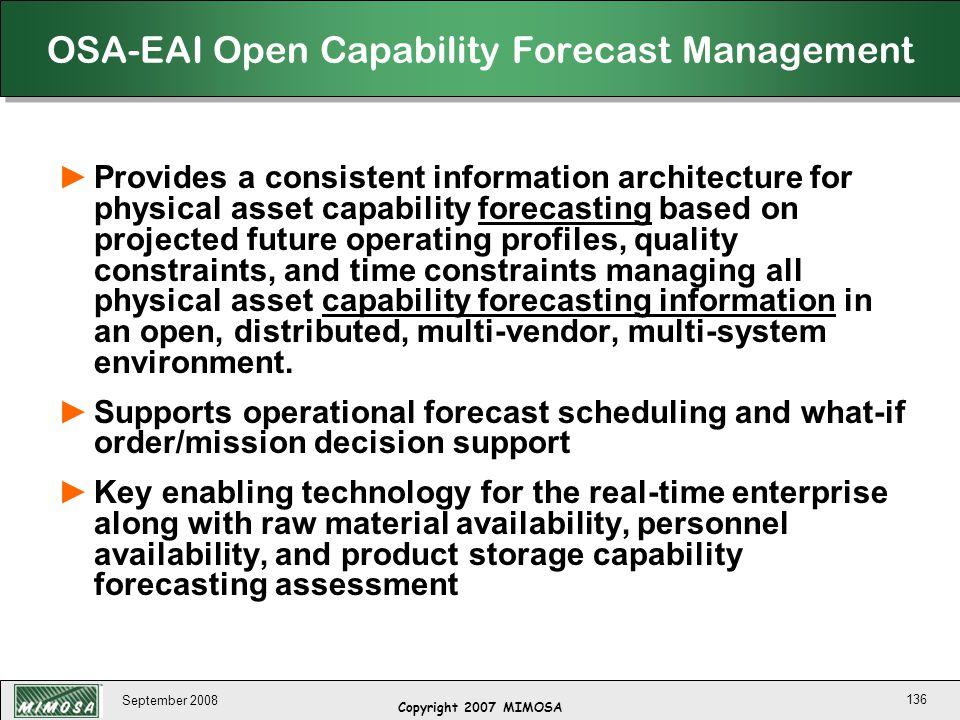 OSA-EAI Open Capability Forecast Management