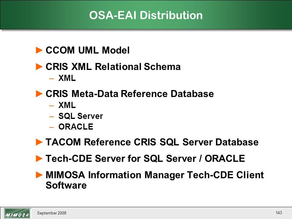 OSA-EAI Distribution CCOM UML Model CRIS XML Relational Schema