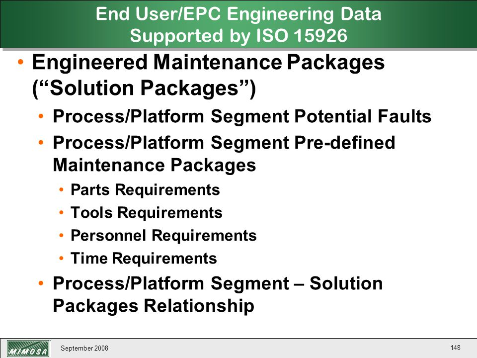 End User/EPC Engineering Data Supported by ISO 15926