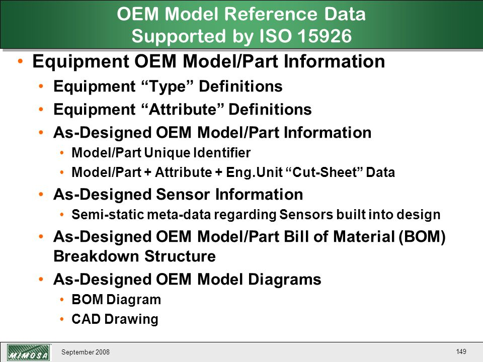 OEM Model Reference Data Supported by ISO 15926