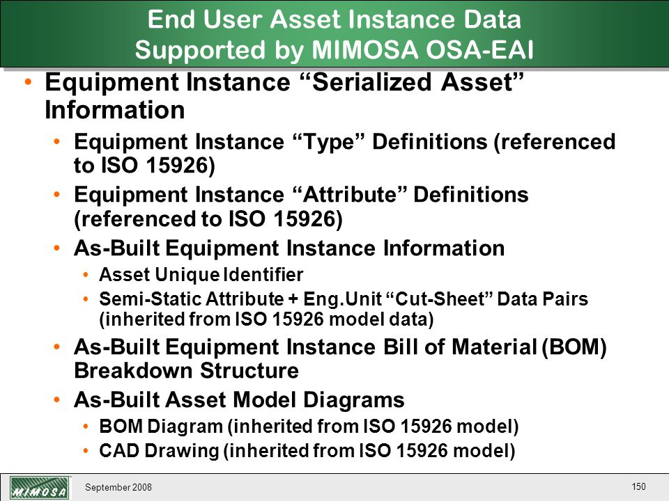 End User Asset Instance Data Supported by MIMOSA OSA-EAI
