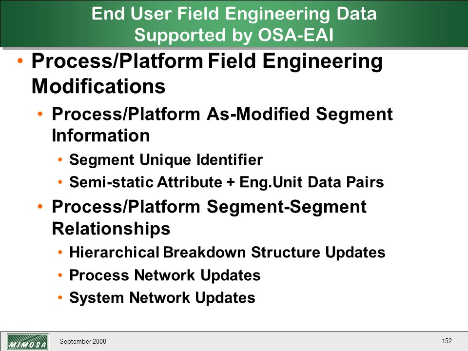 End User Field Engineering Data Supported by OSA-EAI