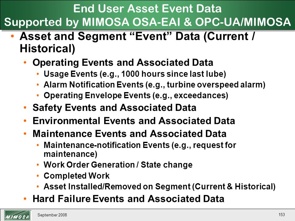 End User Asset Event Data Supported by MIMOSA OSA-EAI & OPC-UA/MIMOSA