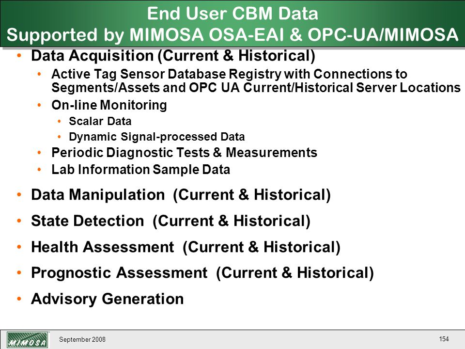 End User CBM Data Supported by MIMOSA OSA-EAI & OPC-UA/MIMOSA