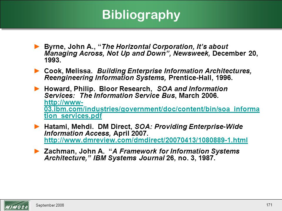Bibliography Byrne, John A., The Horizontal Corporation, It's about Managing Across, Not Up and Down , Newsweek, December 20, 1993.