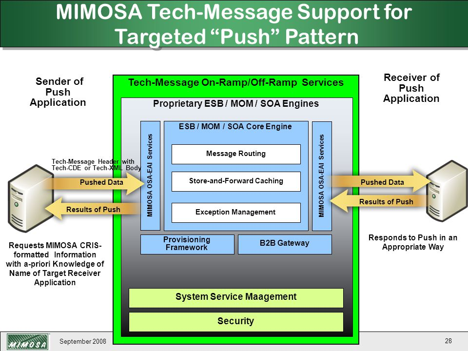 MIMOSA Tech-Message Support for Targeted Push Pattern