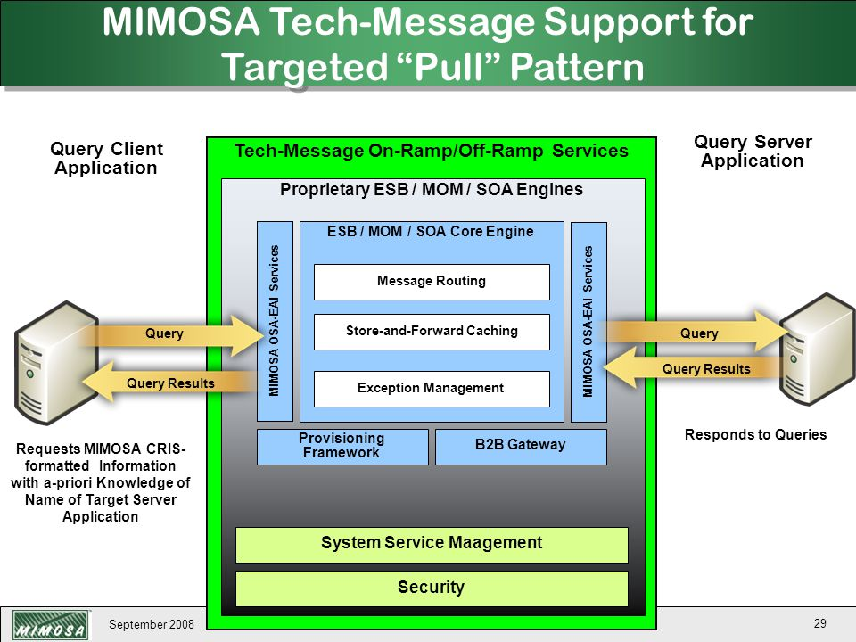 MIMOSA Tech-Message Support for Targeted Pull Pattern