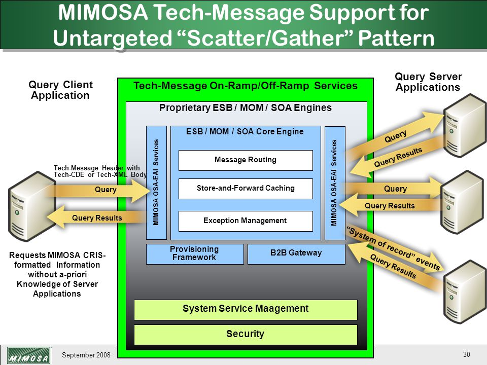 MIMOSA Tech-Message Support for Untargeted Scatter/Gather Pattern