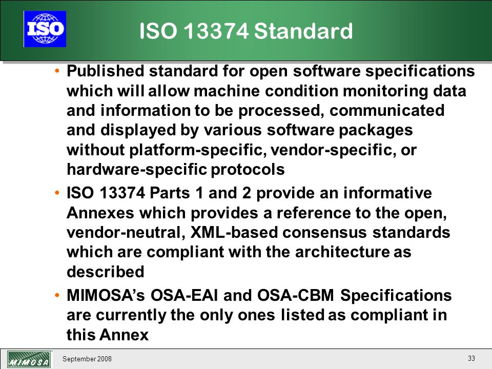 ISO 13374 Standard