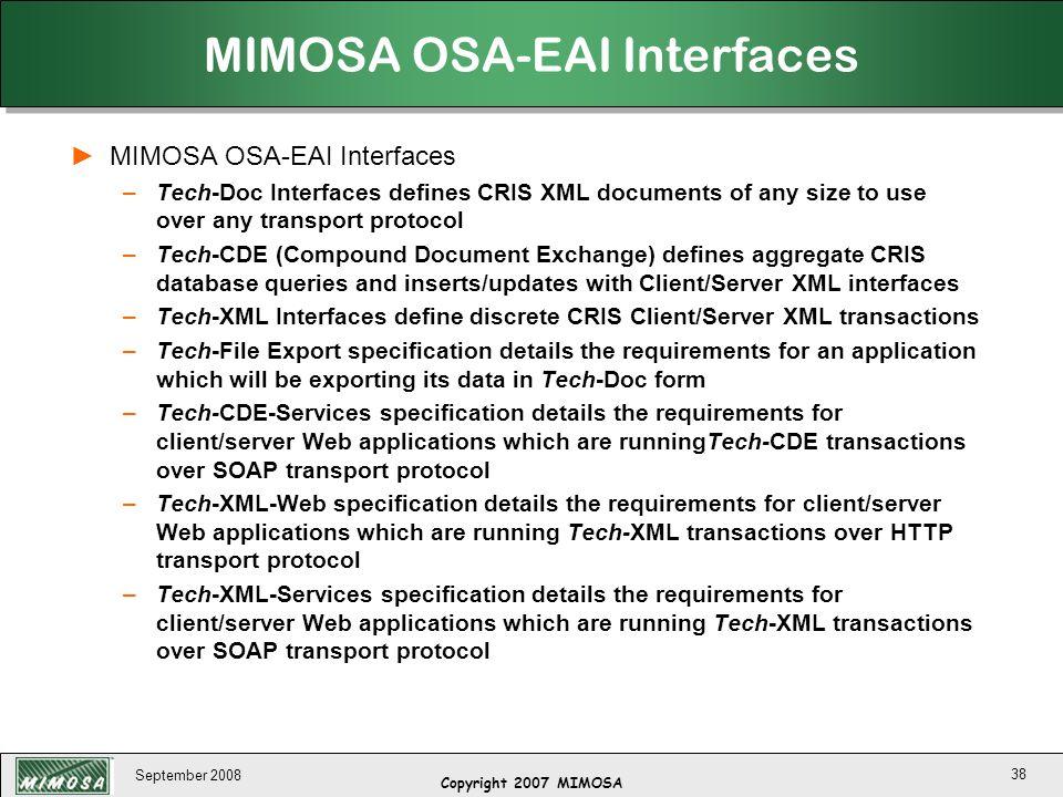 MIMOSA OSA-EAI Interfaces