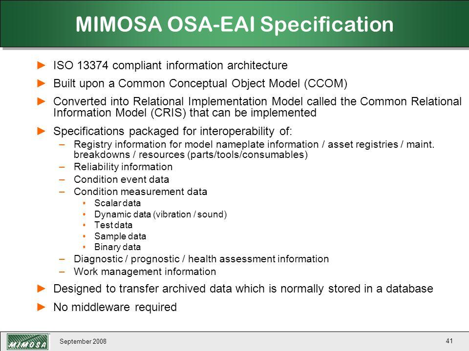 MIMOSA OSA-EAI Specification