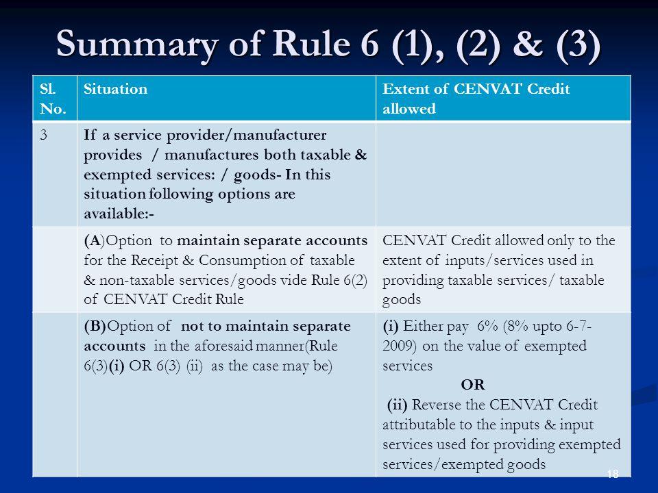 Summary of Rule 6 (1), (2) & (3)