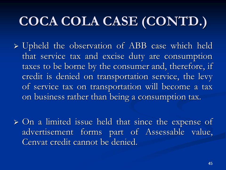 Coca Cola Case (Contd.)