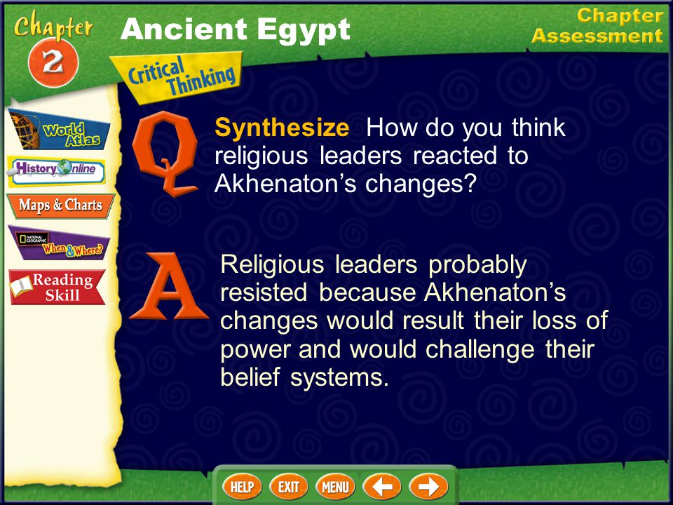 Ancient Egypt Synthesize How do you think religious leaders reacted to Akhenaton's changes