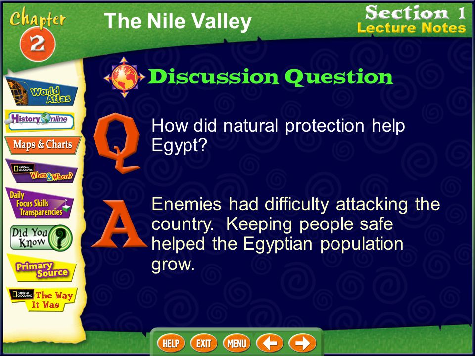 The Nile Valley How did natural protection help Egypt