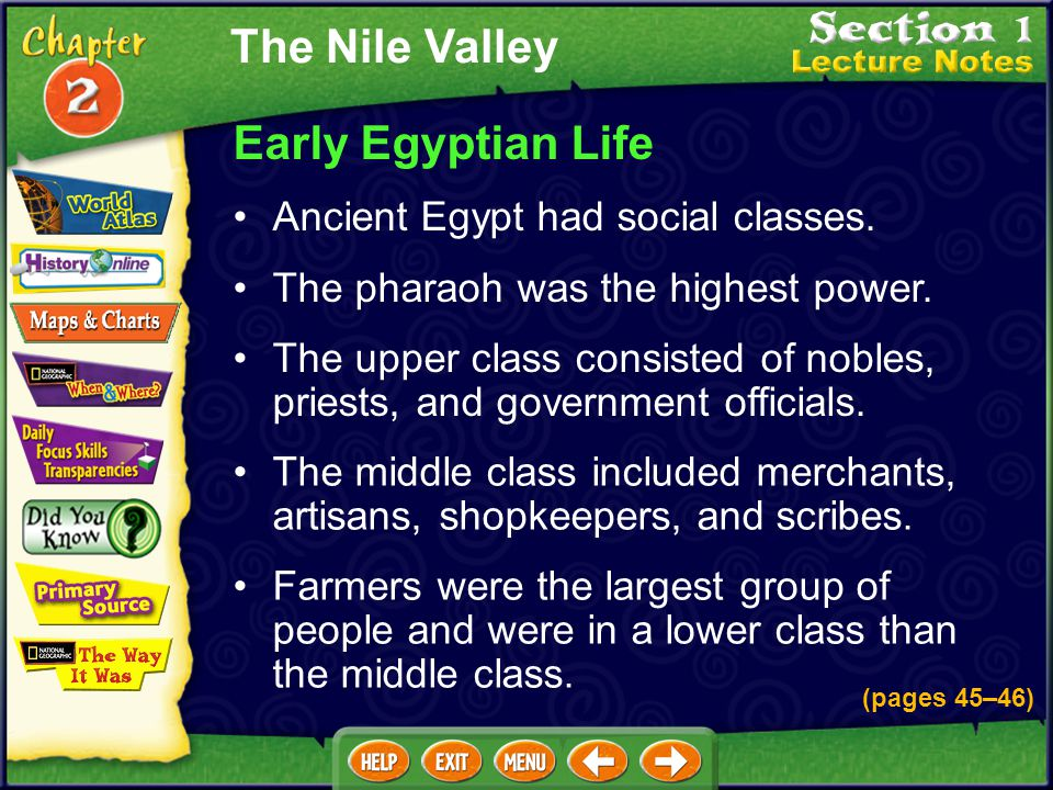 The Nile Valley Early Egyptian Life Ancient Egypt had social classes.