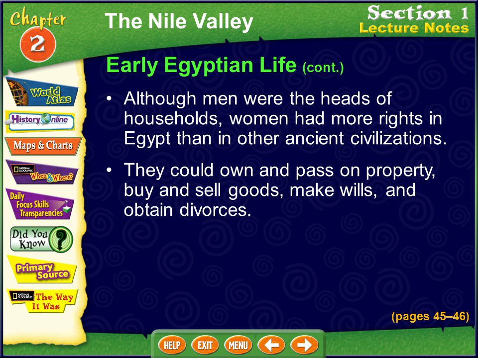 Early Egyptian Life (cont.)