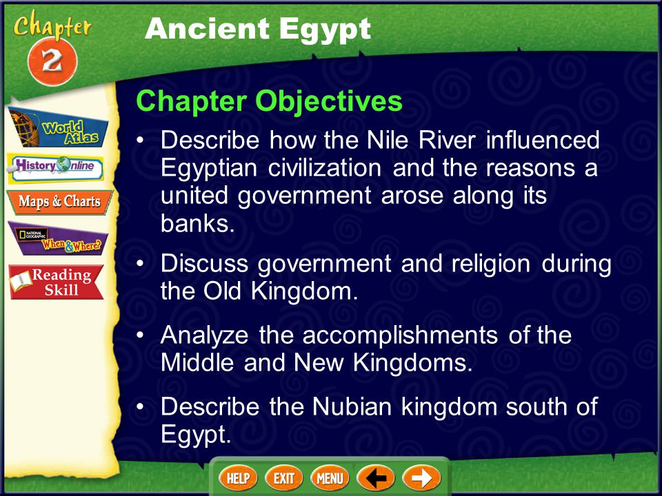 Ancient Egypt Chapter Objectives